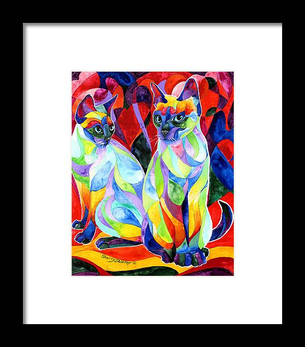 Cats Framed Print featuring the painting Siamese Sweethearts by Sherry Shipley