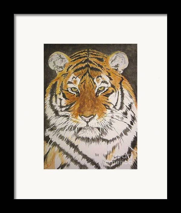 Siberian Tiger Framed Print featuring the painting Siberian Tiger by Regan J Smith