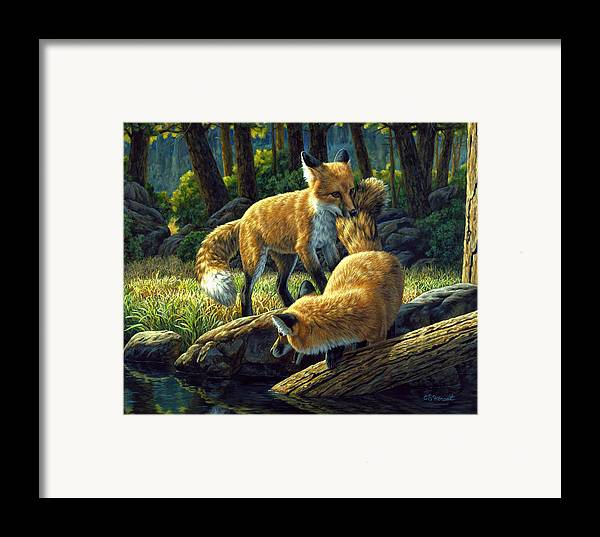 Fox Framed Print featuring the painting Red Foxes - Sibling Rivalry by Crista Forest