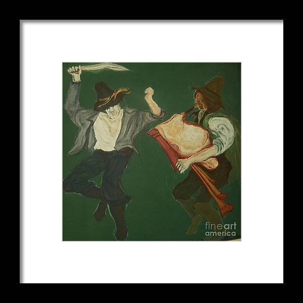Sicilian Folklore Framed Print featuring the painting Sicilian Swordancer and Bagpiper circa 16th century by Nancy Caccioppo