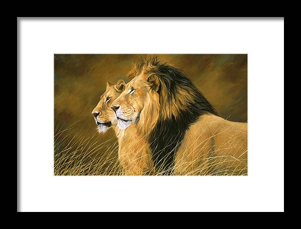 Lion Framed Print featuring the painting Side By Side by Lucie Bilodeau