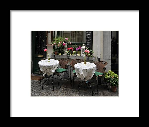 Cafe Framed Print featuring the photograph Sidewalk Cafe In Antwerp by Joe Bonita