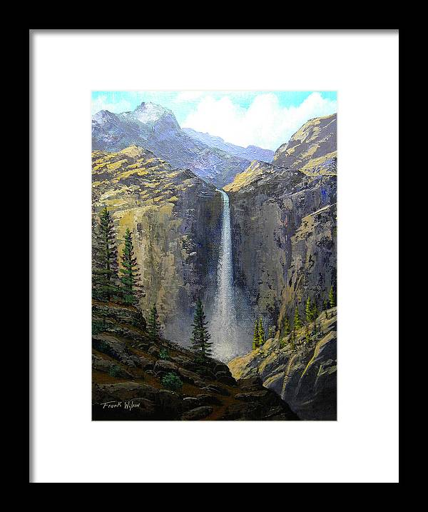 Frank Wilson Framed Print featuring the painting Sierra Nevada Waterfall by Frank Wilson