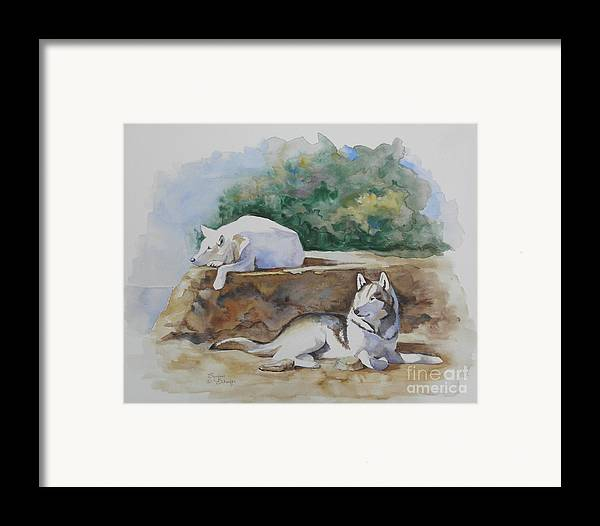 Wolves Framed Print featuring the painting Siesta Time by Suzanne Schaefer