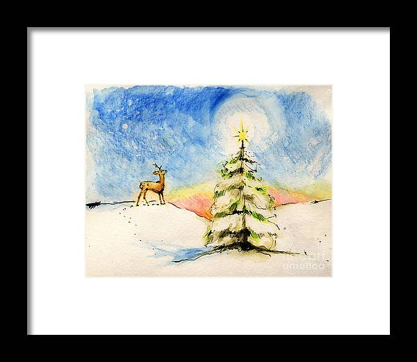 Christmas Framed Print featuring the painting Silent Night by Angel Ciesniarska