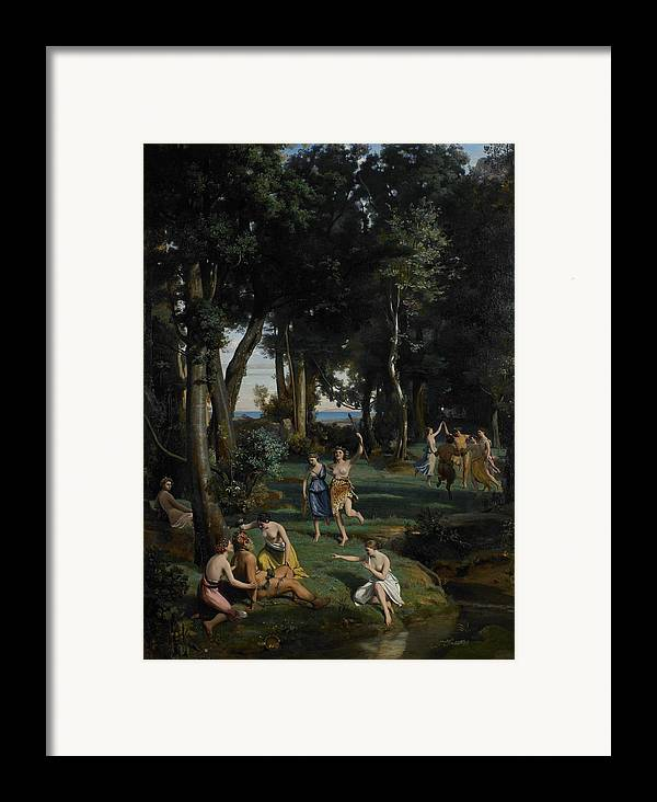 God; Goddess; Goddesses; Landscape; Idyllic; Stream; Idyll; Courting; Courtship; Mythological; Ancient Framed Print featuring the painting Silenus by Jean Baptiste Camille Corot