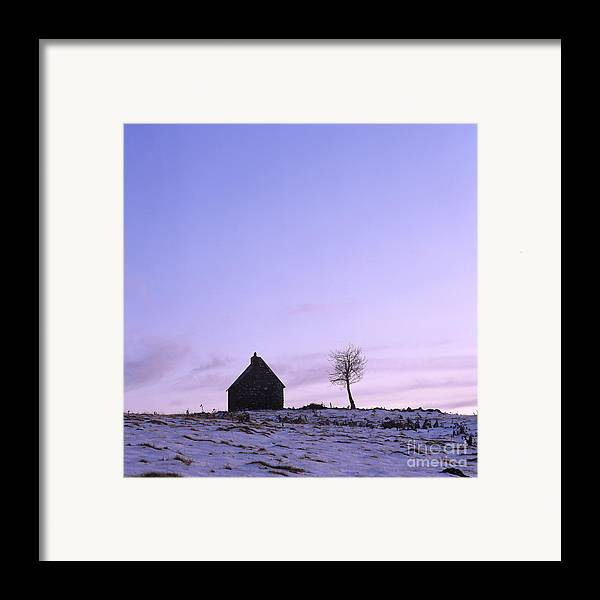 Outdoors Framed Print featuring the photograph Silhouette Of A Farm And A Tree. Cezallier. Auvergne. France by Bernard Jaubert