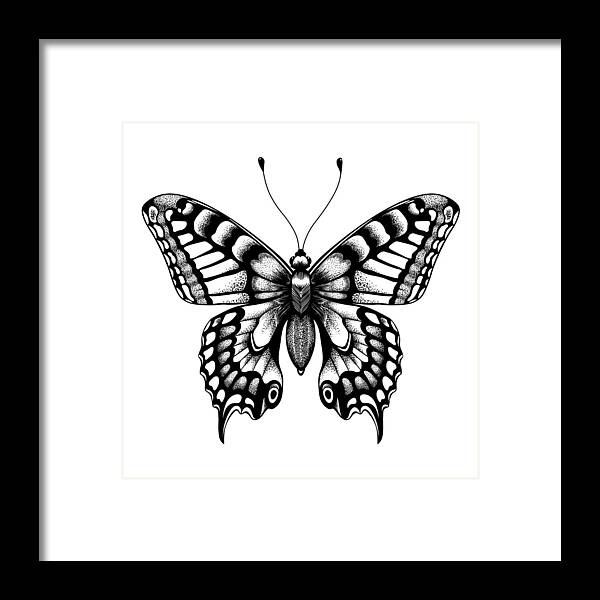 0235415c4e090 Shadow Framed Print featuring the drawing Silhouette Of Butterfly. Tattoo  Butterfly. Isolated Vector Sketch