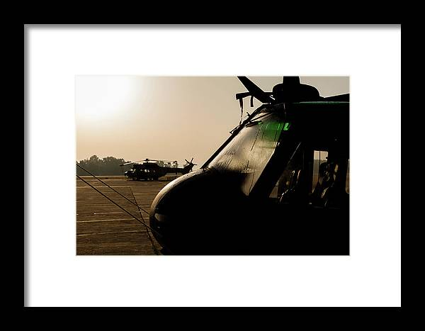 Greece Framed Print featuring the photograph Silhouette Of Hellenic Air Force Search by Timm Ziegenthaler