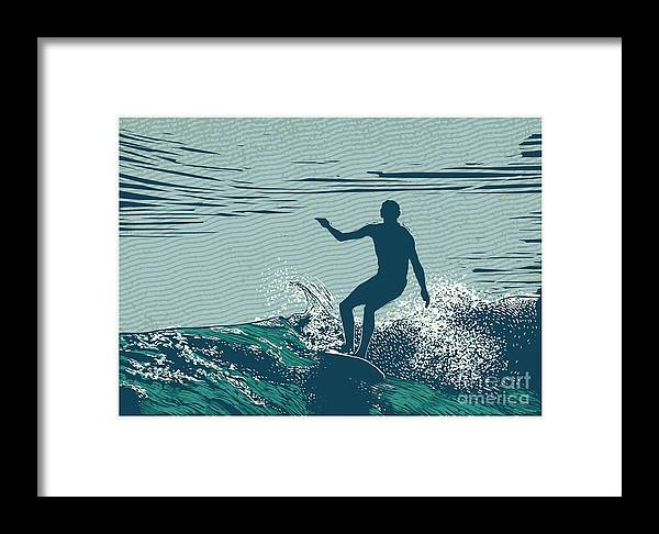 Symbol Framed Print featuring the digital art Silhouette Surfer And Big Wave by Jumpingsack