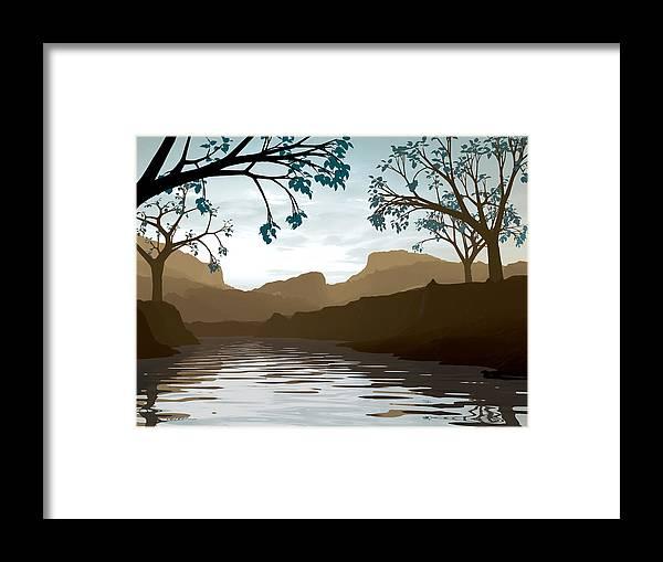 Brown Framed Print featuring the digital art Silkscreen by Cynthia Decker