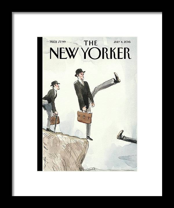 Silly Walk Off A Cliff Framed Print featuring the painting Silly Walk Off A Cliff by Barry Blitt