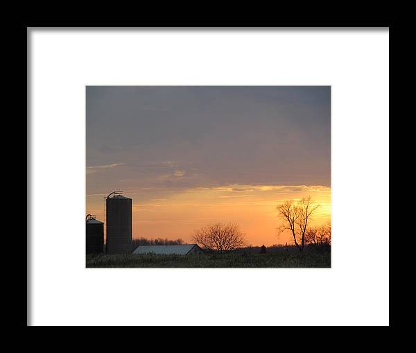 Sun Framed Print featuring the photograph Silos Barn Sunset by Tina M Wenger