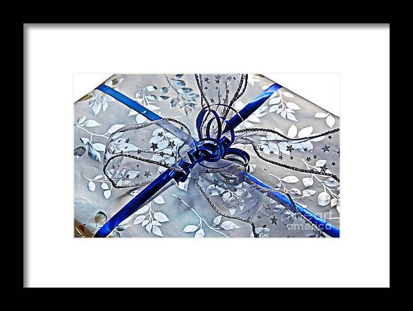 Gift Framed Print featuring the photograph Silver And Blue Wrapped Gift Art Prints by Valerie Garner