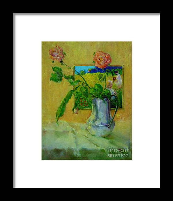Floral Framed Print featuring the painting Silver And Roses   Copyrighted by Kathleen Hoekstra