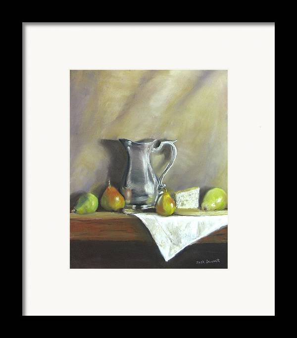 Still Life Framed Print featuring the painting Silver Pitcher With Pears by Jack Skinner