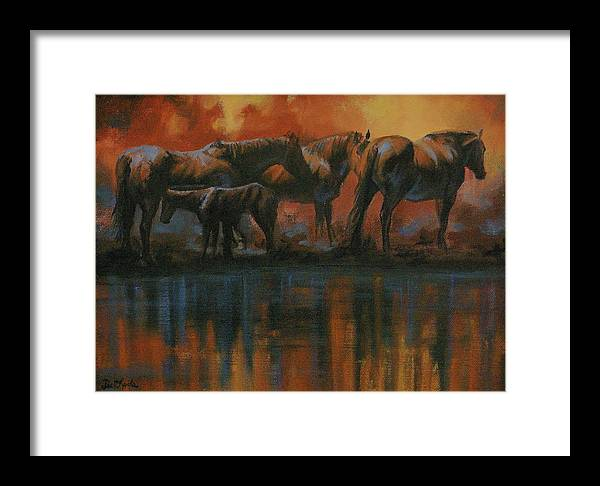 Horses Framed Print featuring the painting Simmerdim by Mia DeLode