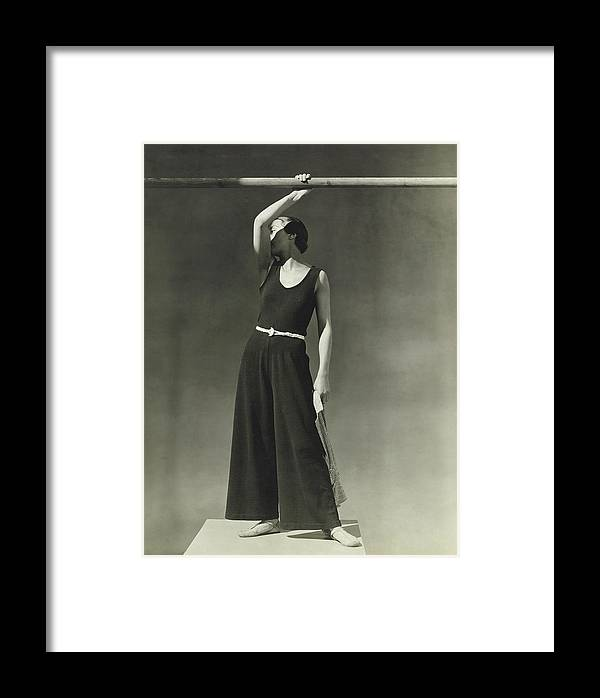 Accessories Framed Print featuring the photograph Simone Demaria In A One-piece Pajama by George Hoyningen-Huene