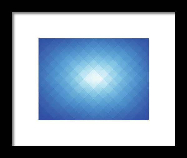 Empty Framed Print featuring the digital art Simple Blue Pixels Background by Simon2579