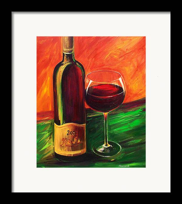 Wine Art Painting Framed Print featuring the painting Simple Pleasures by Sheri Chakamian