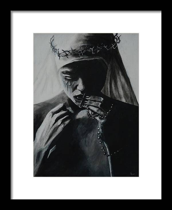 Sin Framed Print featuring the painting SIn by Andreea Kishamera