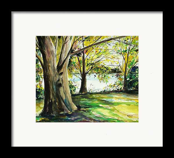 Watercolor Framed Print featuring the painting Singeltary Shade by Scott Nelson