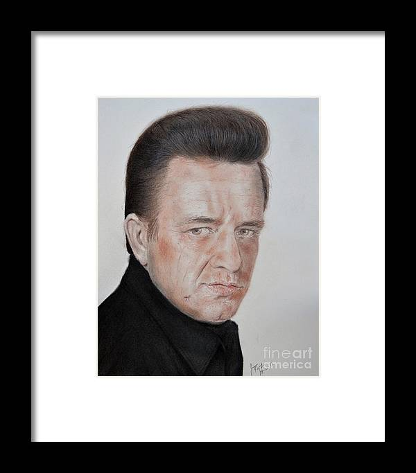 Singing Legend Johnny Cash Framed Print by Jim Fitzpatrick