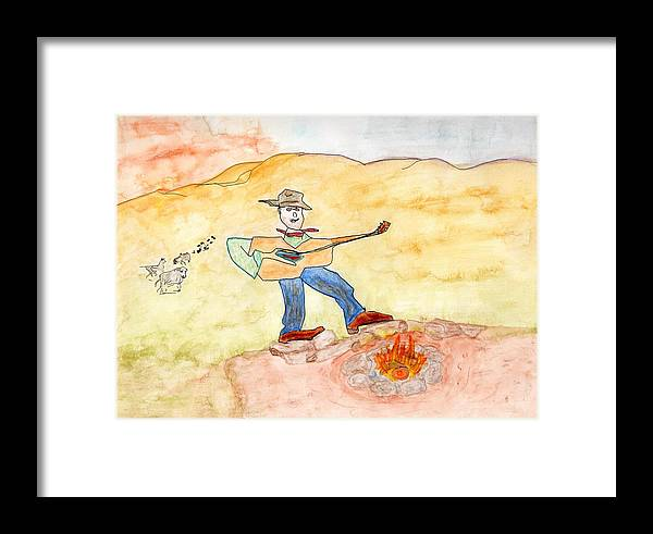 Jim Taylor Framed Print featuring the painting Singing The Cattle In by Jim Taylor