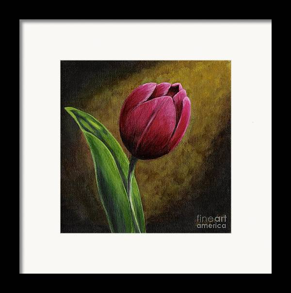 Flower Framed Print featuring the painting Single Tulip by Jesslyn Fraser