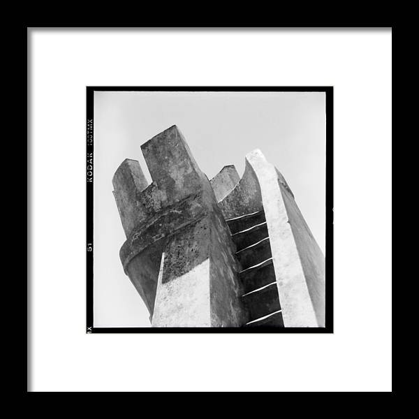 Black And White Framed Print featuring the photograph Sintra Tower by Becky Kozlen