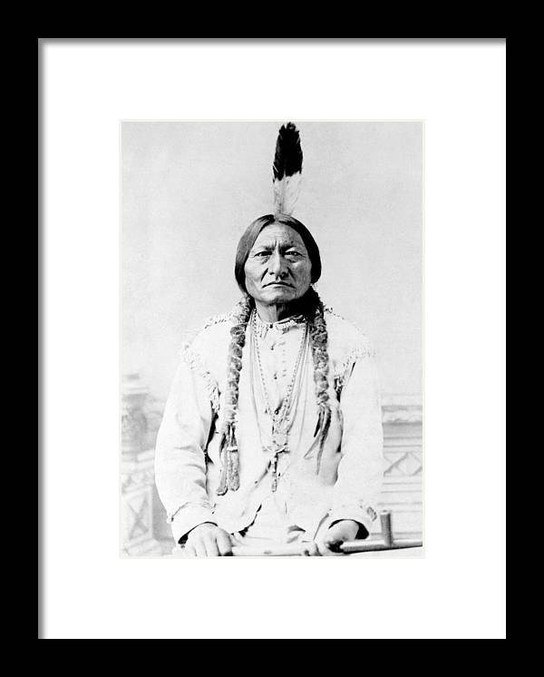 Native American Framed Print featuring the photograph Sioux Chief Sitting Bull by War Is Hell Store