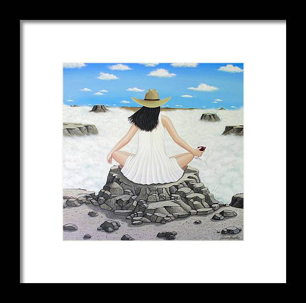 Wine Framed Print featuring the painting Sippin' On Top Of The World by Lance Headlee