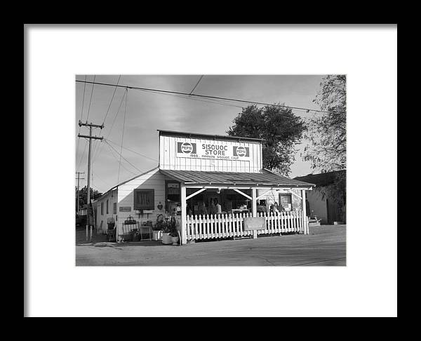 Black&white Framed Print featuring the photograph Sisquoc Store by Mel Felix