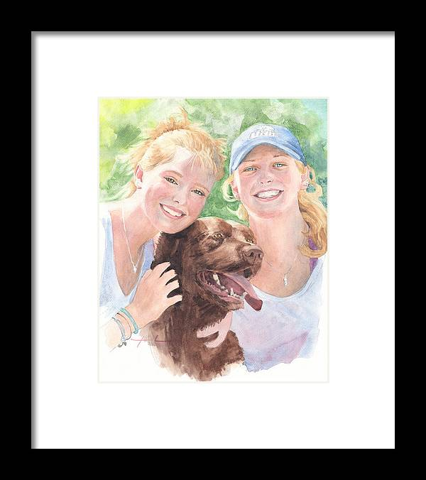 <a Href=http://miketheuer.com Target =_blank>www.miketheuer.com</a> Sisters & Chocolate Lab In Sun Watercolor Portrait Framed Print featuring the painting Sisters And Chocolate Lab In Sun Watercolor Portrait by Mike Theuer