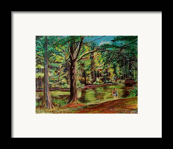 New Hampshire Framed Print featuring the pastel Sisters At Wason Pond by Sean Connolly
