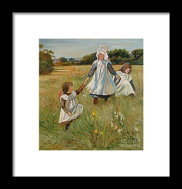Classic Art Framed Print featuring the painting Sisters by Silvana Abel