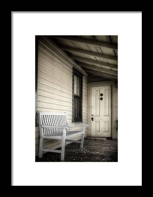 Joan Carroll Framed Print featuring the photograph Sit Awhile by Joan Carroll
