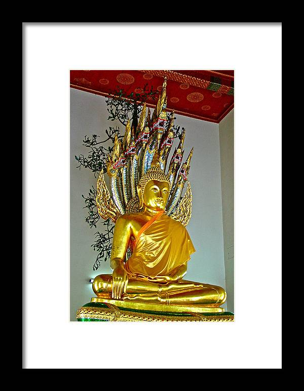 Sitting Buddha In Wat Po In Bangkok Framed Print featuring the photograph Sitting Buddha In Wat Po In Bangkok-thailand by Ruth Hager