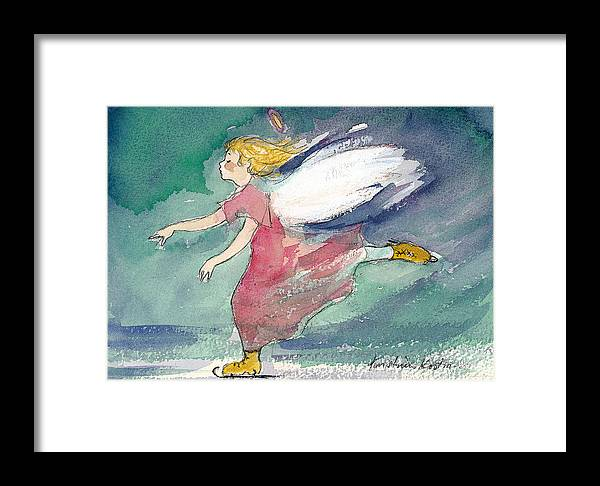 Skating Framed Print featuring the painting Skating Angel by Kristiina Kostia