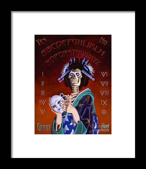 Paranormal Framed Print featuring the painting Skeleton Geisha Ouija Board by Melissa A Benson