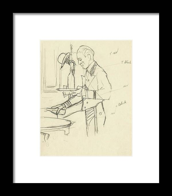 Food Framed Print featuring the digital art Sketch Of Waiter Pouring Wine by Carl Oscar August Erickson