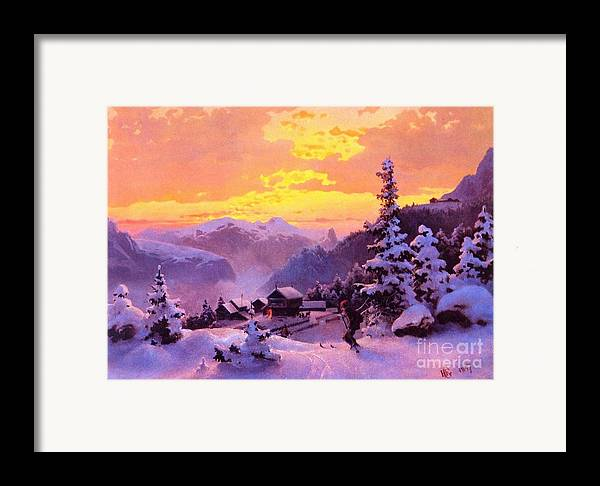 U.s.pd Framed Print featuring the painting Ski by Pg Reproductions