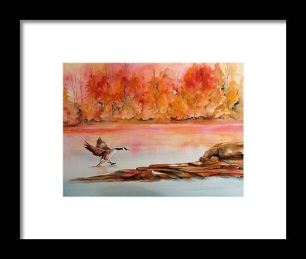 Autumn Framed Print featuring the painting Skid by Ellen Canfield