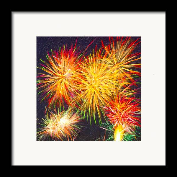 Fireworks Framed Print featuring the digital art Skies Aglow With Fireworks by Mark E Tisdale