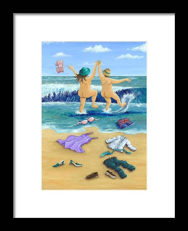 Peter Adderley Framed Print featuring the photograph Skinny Dippers by MGL Meiklejohn Graphics Licensing