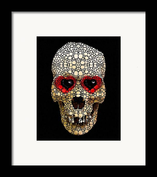 Skull Framed Print featuring the painting Skull Art - Day Of The Dead 3 Stone Rock'd by Sharon Cummings