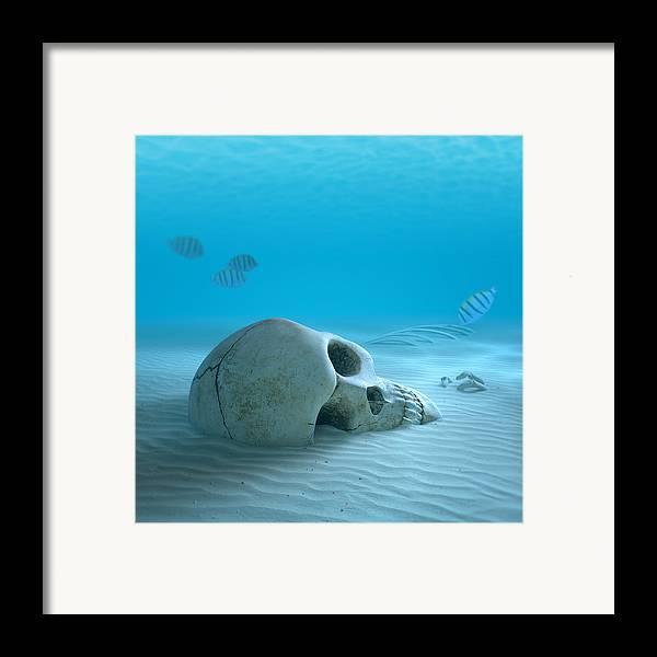 Skull Framed Print featuring the photograph Skull On Sandy Ocean Bottom by Johan Swanepoel