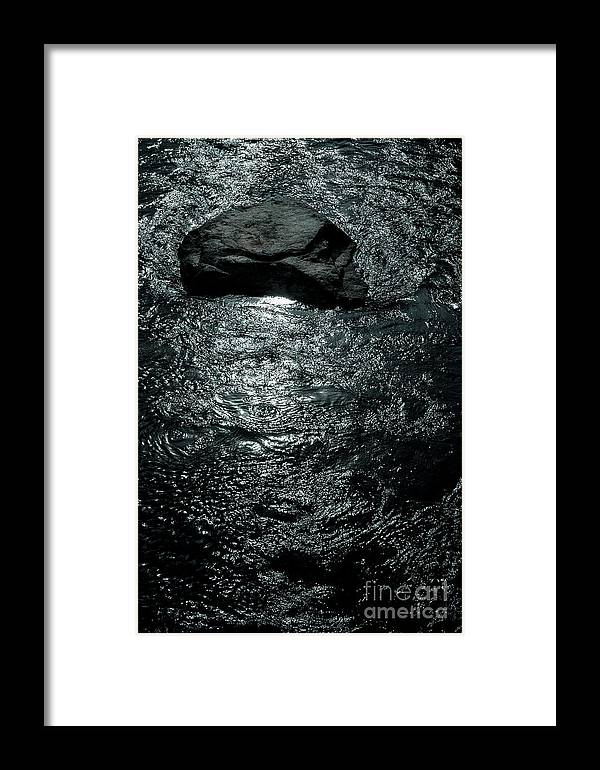 Europa Framed Print featuring the photograph Skull Shaped Rock In River Eman At Hogsby Sweden by Peter Noyce