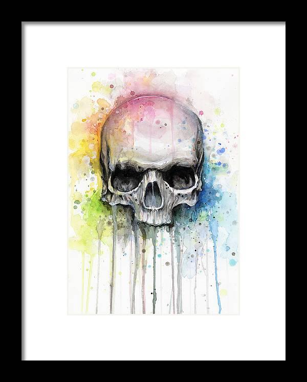 Skull Framed Print featuring the painting Skull Watercolor Painting by Olga Shvartsur