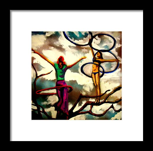 Hula Hoop Framed Print featuring the painting Sky Above Me Earth Below Me Fire Within Me...... by Kimberly Dawn Clayton